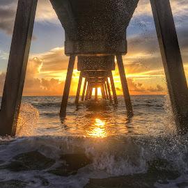 Sea Spray by Etta Cox - Instagram & Mobile iPhone ( hdr ocean splash sunrise pier colorful clouds sunlight reflection )
