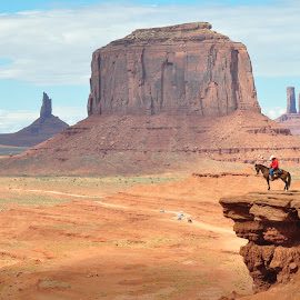 Monument Valley and Cowboy by Ann Harper - Landscapes Caves & Formations ( monument valley, monument landscape, cowboy, america, cowboy on horse )