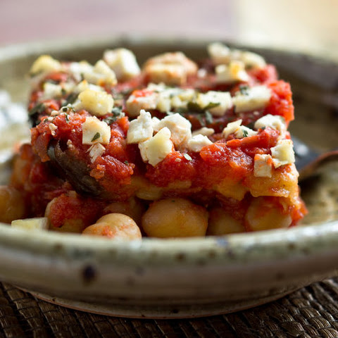 Roasted Eggplant and Chickpeas With Tomato Sauce