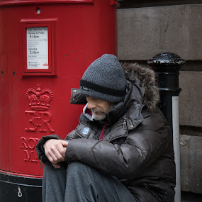 Waiting for the Mail by Sam Alexander - People Street & Candids ( december, england, 2016, bath )