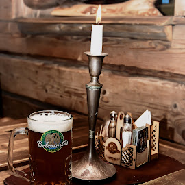 Old Times by Dmitriev Dmitry - Food & Drink Alcohol & Drinks ( mug, candle, old, beer, light )