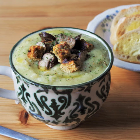 Roasted Celeriac Soup & Sun-dried Tomato Tempeh