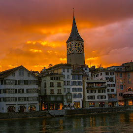Zurich at Dusk by Darren Walkey - City,  Street & Park  Skylines (  )