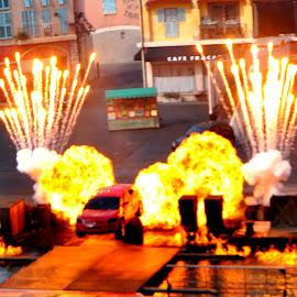 Stunt Show...... by Tammy Price - City,  Street & Park  Amusement Parks ( car, stunt show, fireworks, hollywood studios, stunts, disney, fire )