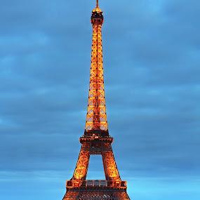 Eiffel Tower by Matej Skubic - Buildings & Architecture Public & Historical ( lights, eiffel tower, tower, pariz; paris, sundown, eiffel )