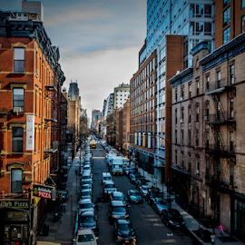 Street Scene Of New York by Joseph Law - City,  Street & Park  Street Scenes ( blue sky, traffic, sunny, street, buildings, scene, new york )