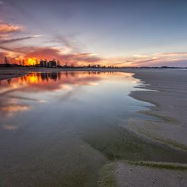 Bilinga Beach by Steve Badger - Landscapes Sunsets & Sunrises ( reflection, queensland, gold coast, sunset, australia )