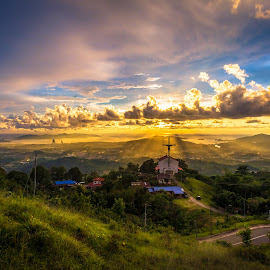 Awesome Light Rays From Heaven by Ted Khiong Liew - Landscapes Travel ( houses, mountains, sky, sunsets, trees )