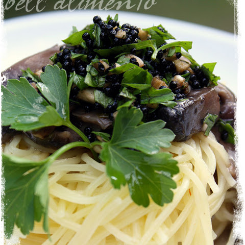 Capellini ai Funghi e Caviale {Angel Hair w/Mushrooms & Caviar} + GIVEAWAY !