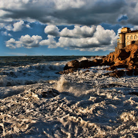 Waves and clouds by Gianluca Presto - Buildings & Architecture Homes ( water, clouds, building, tuscany, cliffs, waterscape, waves, cliff, sea, architecture, beach, sky, nature, mediterranean, wave, cloudy, castle, livorno, homes, italy, rocks )