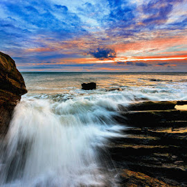 C0-Down Sunrise by Leslie Hanthorne - Landscapes Waterscapes ( sea, bloody bridge, sunrise, co-down ireland )
