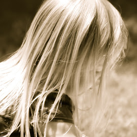 Sunlit by Judy Laliberte - Novices Only Portraits & People ( sepia, little girl, long hair, light, sun )