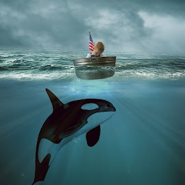 The Protector by Kimmi Walrath Doerr - Digital Art Animals ( child, animals, little boy, fine art, ocean, whale )