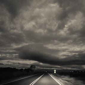 never ending dark road  by Serenity Deliz - Landscapes Travel ( clouds, foggy, street, driving, night, road )