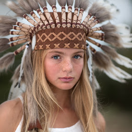 feathers by Kim Laureen - Babies & Children Child Portraits ( girl, headdress, blue eyes, boho, feathers )