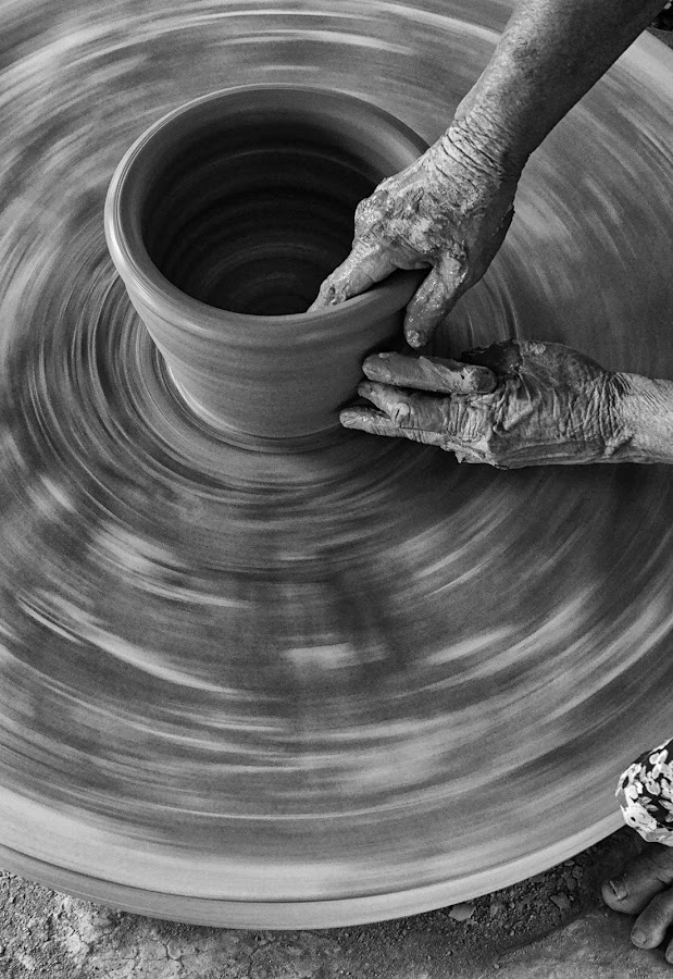 by Phạm Tỵ - Artistic Objects Cups, Plates & Utensils ( hands, pottery, ceramic, people, back and white )