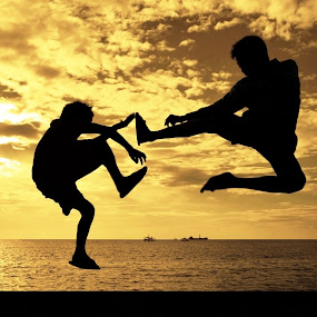 Karate 101 by Wilfredo Lumagbas - People Street & Candids ( sunset, silhouette, kids, philippines )