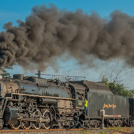 All Aboard by Michael Wolfe - Transportation Trains ( train tracks, steam engine, trees, train, railway crossing, passenger cars, smoke, steam )