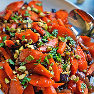 Spicy Uzbeki Carrots with Currants, Goji Berries and Pistachios