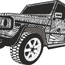 Zebra Offroad car by Vladimir Ceresnak - Drawing All Drawing ( 4x4, all off road vehicle, animals, offroad vehicle, vehicle, illustration, land vehicle, without people, vectors, safari, zebra, africa, tour )
