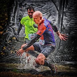 Jean-Pierre by Marco Bertamé - Sports & Fitness Other Sports ( water, differdange, splash, splatter, 1444, 2015, number, strongnmanrun, waterdrops, running, luxembourg, jump, strong, drops, 80, man,  )