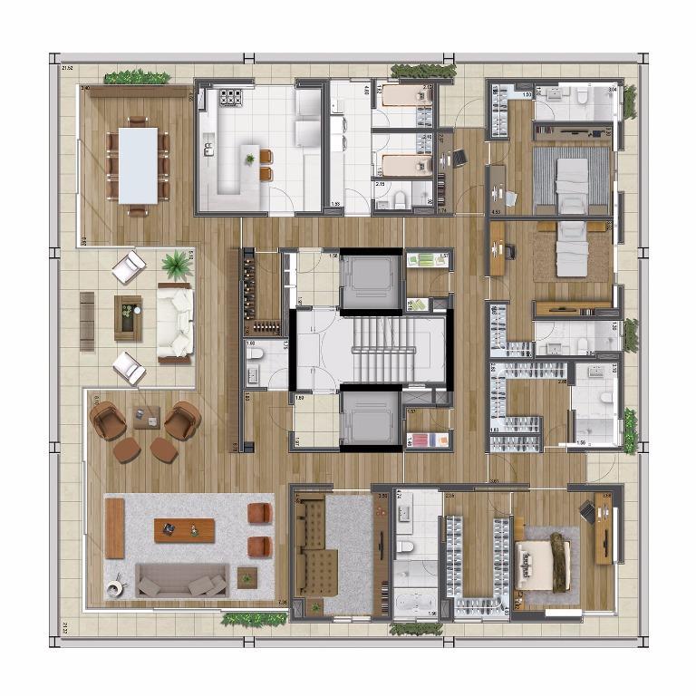 Planta Tipo Opção B - 430 m²