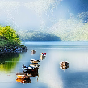 by Bente Agerup - Transportation Boats ( boats, reflections, trees, sea, fjord )