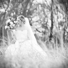 Perfect Day by Sharyl Goodpaster - Wedding Bride ( flowers, wedding, black and white, portrait, women )