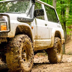 Muddy Day by Andreea Alexe - Transportation Automobiles ( 4x4, patrol, mud, offroad, green, summer, trees, forest, road, dirt,  )
