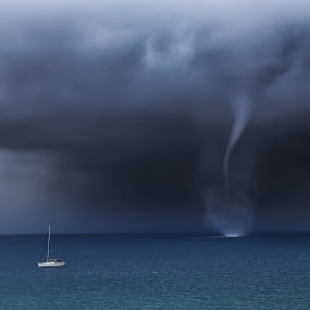 Waterspout by Ivan Stulic - Landscapes Weather ( twister, yacht, cumulonimbus, sea, storm, boat, waterspout, thuderstorm )