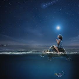 Wishing upon a star by Richard Bingham - Digital Art People ( fantasy, stars, digital art, children, sea, ocean, turtles, kids, manipulation )