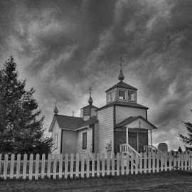 Old Russian Church by Patricia Phillips - Black & White Buildings & Architecture ( churches old russian ninilchik alaska )