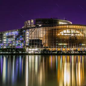 European Parliament by Crinu Topalo - Buildings & Architecture Public & Historical ( water, parliament, reflection, european, long exposure,  )
