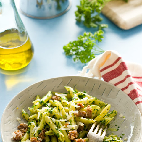 Penne with Parsley pesto and Sausage