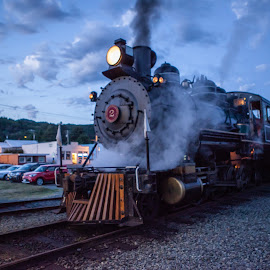 Antique Steam Engine by Debbie Slocum Lockwood - Transportation Trains