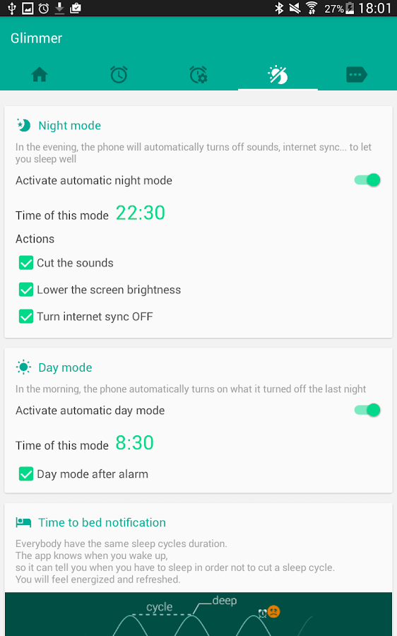 Glimmer (luminous alarm clock) Screenshot 18