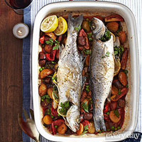 Branzino with Chorizo and Potatoes