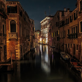 Venice by night by Dejan Vuckovic - Buildings & Architecture Public & Historical ( famous, old, europe, italian, exterior, cityscape, architecture, landscape, attraction, historic, city, lights, italia, grand, dark, monument, evening, italy, light, building, beautiful, canal, landmark, european, outdoors, night, bridge )