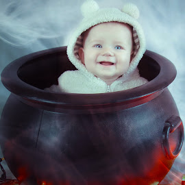 What's for dinner? by Jenny Hammer - Babies & Children Child Portraits ( funny, baby, cute, portrait, halloween )