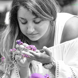 Stop and Smell the Flowers by Emma Celeste - Digital Art People ( delicate, woman, teenage, girl, teen, smell, flower, purple flower, blackandwhite, white, watch, purple, sniffing, purple flowers, gentle, black and white, teenager )