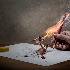 dare drawing dragons by Ingrid Krammer - Digital Art Things ( pencil, hand, rubber, life, paper, dragon, ingridworks, finger, surreal, dangerous, drawing, fire )