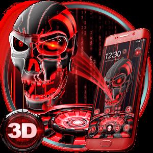 3D Tech Blood Skull Theme For PC