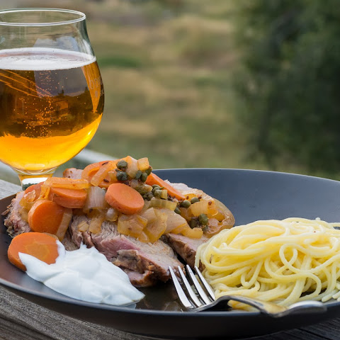 Braised Pilsner Pork Roast with Paprika, Capers and Caraway
