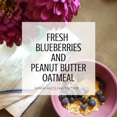 Fresh Blueberries and Peanut Butter Oatmeal