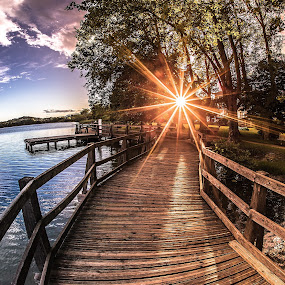 Paradise Bridge by Alessio Coluccio - Landscapes Sunsets & Sunrises ( bridge paradise wood way sun sunset sky water lake cloud clouds tree nature )