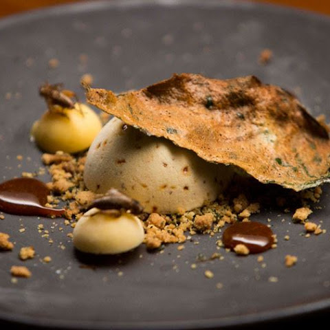 Cricket Caramel Semifreddo with Lime Curd and Betel Leaf Crumb