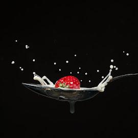 Strawberry by Nick Vanderperre - Abstract Water Drops & Splashes ( studio, 2018, aardbei, melk, strawberry, milk, splash, lepel,  )