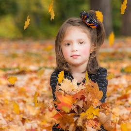 Fun With Leaves by Sue Matsunaga - Babies & Children Child Portraits
