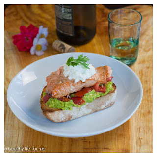 Open Faced Honey Bourbon Glazed Salmon Sandwich