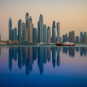 Dubai Marina by Marcin Frąckiewicz - City,  Street & Park  Skylines ( mirrored reflections, pool, dubai, sunset )